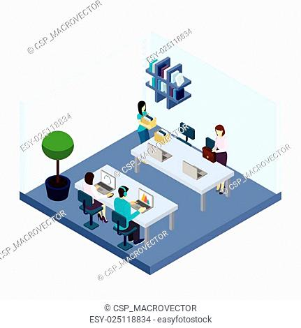Coworking People Environment Office Isometric Banner