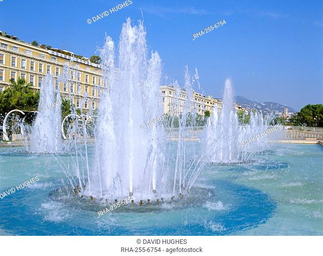 Place and Espace Massena Fountains, Nice, Cote d'Azur, French Riviera, Provence, France, Europe