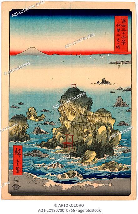 Ise futamigaura, Futamigaura in Ise Province., Ando, Hiroshige, 1797-1858, artist, 1858., 1 print : woodcut, color ; 36 x 24.5 cm