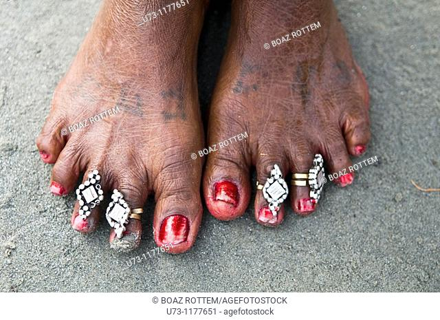 An Indian woman's feet - closeup