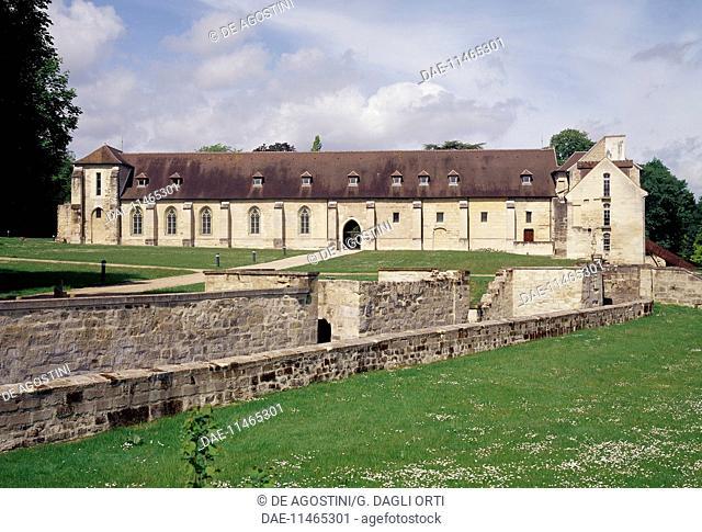 The walls, Cistercian abbey of Maubuisson founded by Blanche of Castile (1236), Saint Ouen l'Aumone, Val d'Oise, Ile de France, France