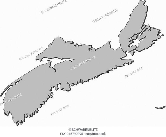 Map of Nova Scotia, a province of Canada