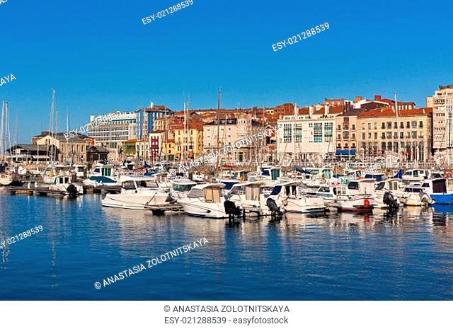 View on Old Port of Gijon and Yachts, Asturias, Northern Spain