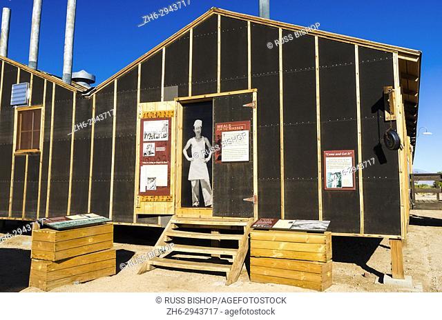 Mess hall and interpretive signs at Manzanar National Historic Site, Lone Pine, California USA