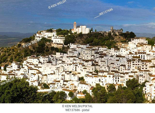 Casares, Malaga Province, Andalusia, southern Spain. Typical whitewashed mountain town a short distance inland from the Costa del Sol