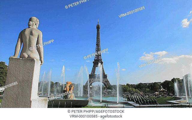 Trocadero Gardens and Fountains at Champs de Mars and the Eiffel Tower, Paris