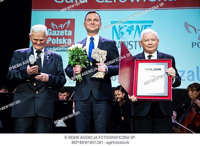 29.01.2016 Warsaw, Poland. `Human of the year` gala. Pictured: Jaroslaw Kaczynski, President Andrzej Duda, Boguslaw Nizienski