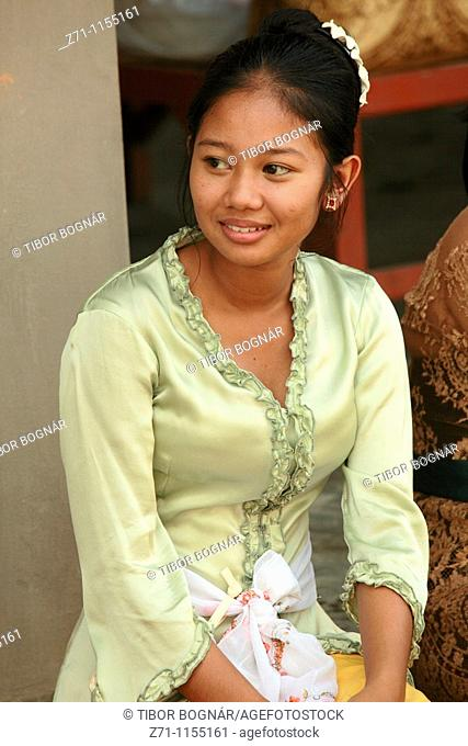 Indonesia, Bali, Mas, temple festival, young woman, odalan, Kuningan holiday