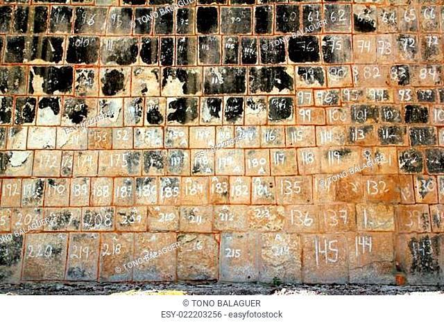 pok ta pok Mayan Chichen Itza stone wall Mexico