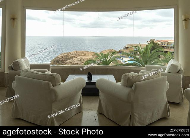 San Feliu de Guixols coast Costa Brava, Catalonia, Spain on September 21, 2020 Panorama from hotel room