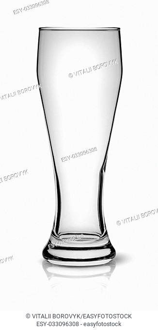 In front empty beer glass isolated on white background