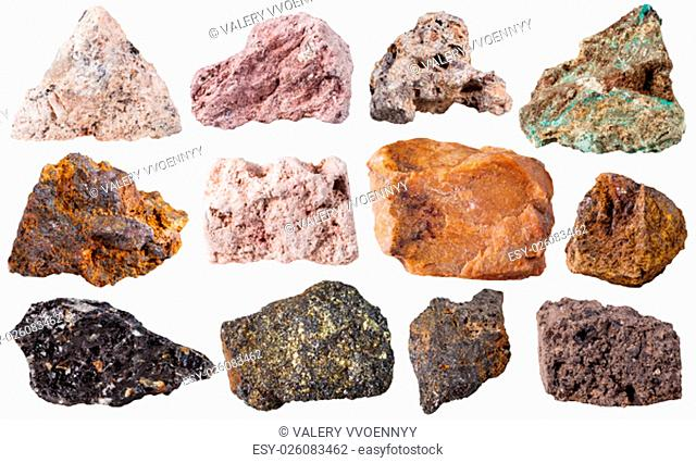 macro shooting of specimen natural rock - set from 12 pieces natural stones isolated on white background