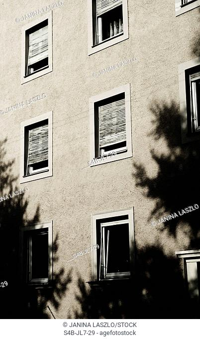 Windows of an apartment house, Munich, Bavaria, Germany