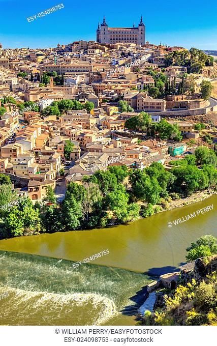 is Alcazar Fortress Medieval City Tagus River Toledo Spain. Toledo Alcazar built in the 1500s, Destroyed in Spanish Civil War and then rebuilt after war