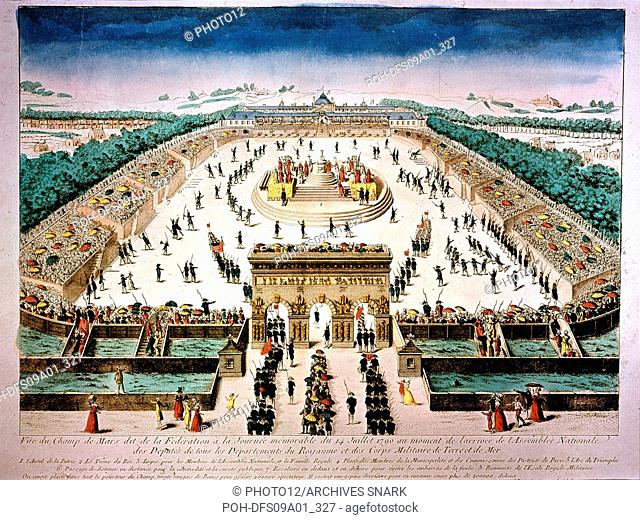 Festivities of the Federation, on the Champ de Mars, Paris: arrival of the federated revolutionaries 18th century Watercolour (35 x 45 cm) Versailles