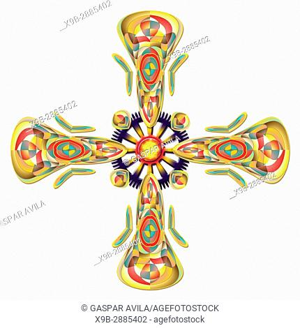 Digital art cross in colorful tones and high detail