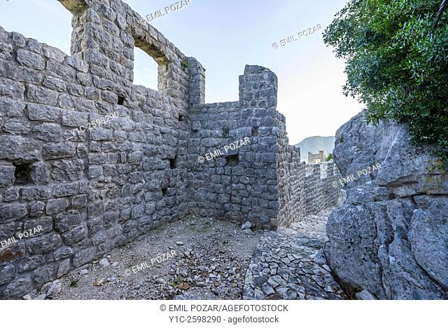 Ston old town in Dalmatia, Croatia, on top of old fortifications