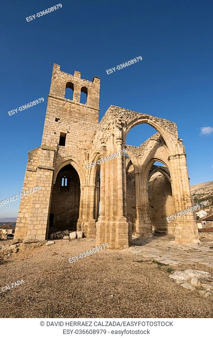 Ruins of abandoned church Santa Eulalia in Palenzuela, Palencia province, Spain