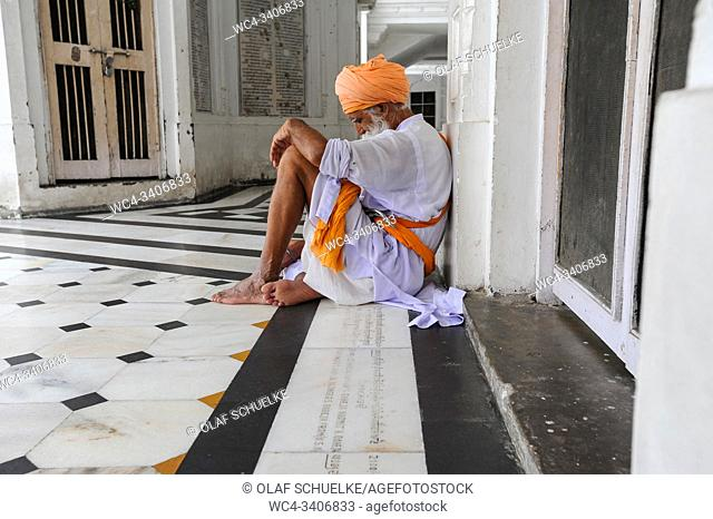 Amritsar, Punjab, India - Sikh devotee at the Golden Temple sanctuary, the holiest place of worship for Sikhs