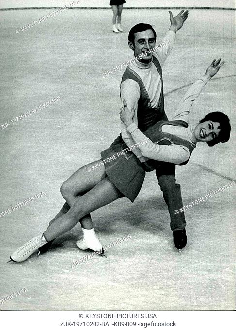 Feb. 02, 1971 - Figure Skating European Championship in Zurich: The Sowjet ice dance couple Ludmilla Pachamov / Alexander Gorschkov
