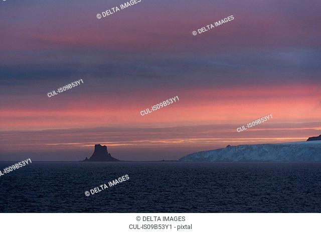 Sunset sky over Livingstone Island, English strait, Antarctica