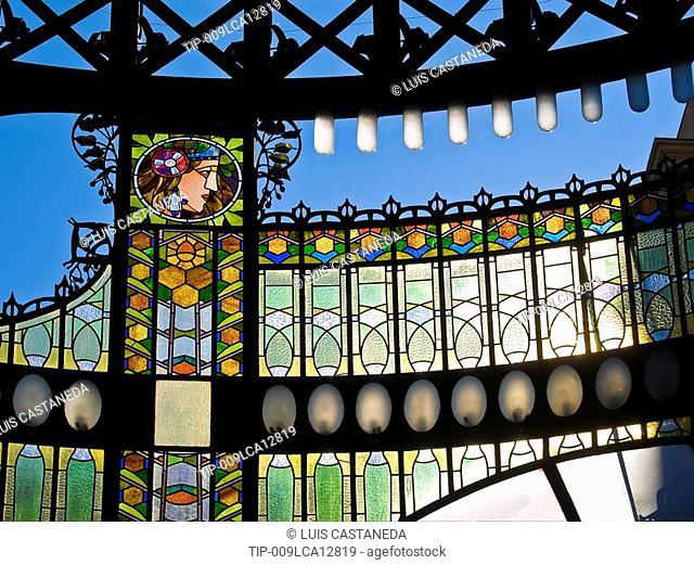 Czech Republic, Prague, The Municipal House, Art Nouveau Staines Glass Decoration
