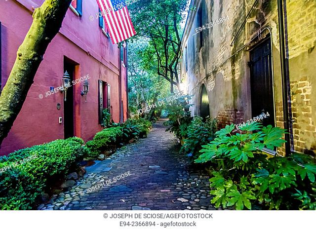 Alley way in the historic section of Charleston South Carolina