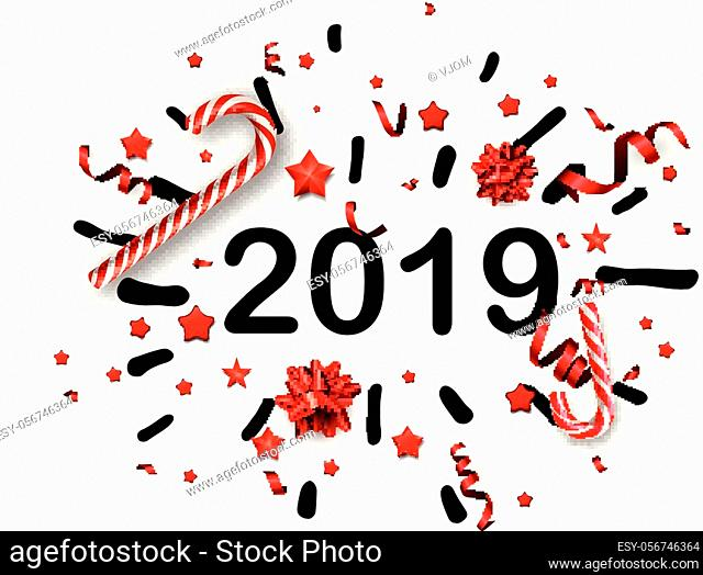 White 2019 New Year background with red bows, serpentine and candy canes. Christmas greeting card or poster template. Vector paper illustration