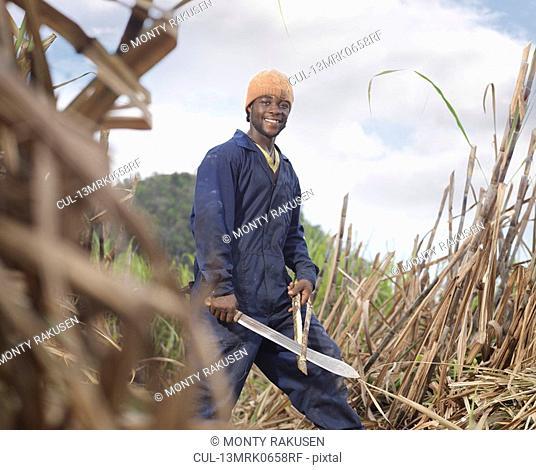 Sugar Cane Worker With Machete