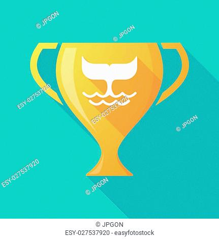 Illustration of a trophy icon with a whale tail