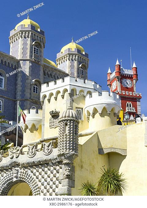 Palacio Nacional da Pena, the national palace Pena, in Sintra near Lisbon, part of the UNESCO world heritage. Europe, Southern Europe, Portugal