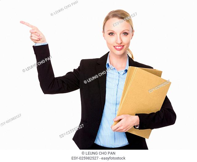 Caucasian Businesswoman hold with folder and finger point up