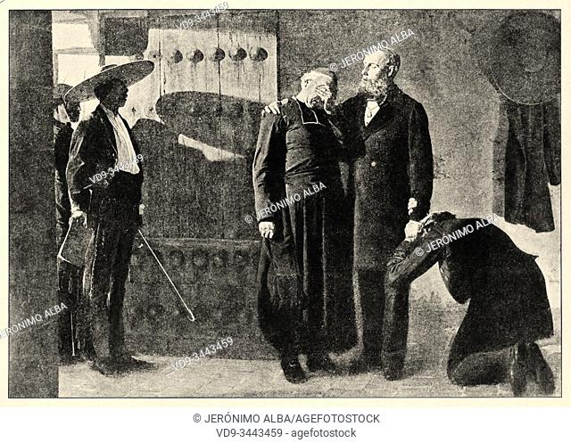 Mexican war. Last moments of Emperor Maximilian I of México before his execution by firing squad in 1867. Maximilian I of Mexico, 1832 - 1867