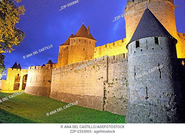 Remparts at dusk, Carcassonne, Languedoc-Roussillon, France