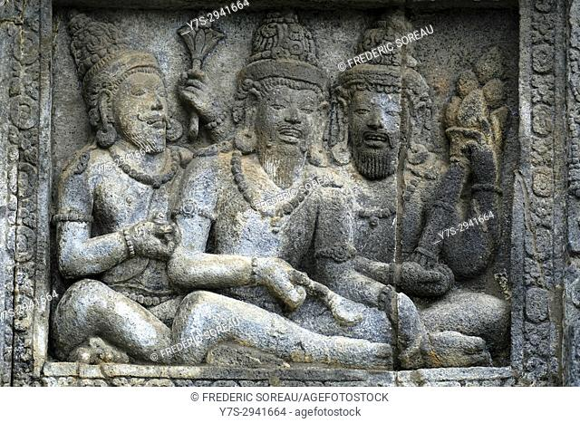 Relief panel of Prambanan Temple,Central Java,Indonesia,Asia