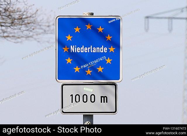 Herongen, Germany April 10th, 2020: Symbol pictures - Coronavirus - 04/10/2020 border sign Netherlands, border, border traffic, travel traffic