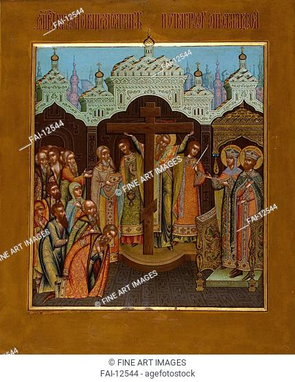 Exaltation of the Holy Cross. Chirikov, Osip Semionovich (?-1903). Tempera on panel. Russian icon painting. End of 19th cen. . State Hermitage, St