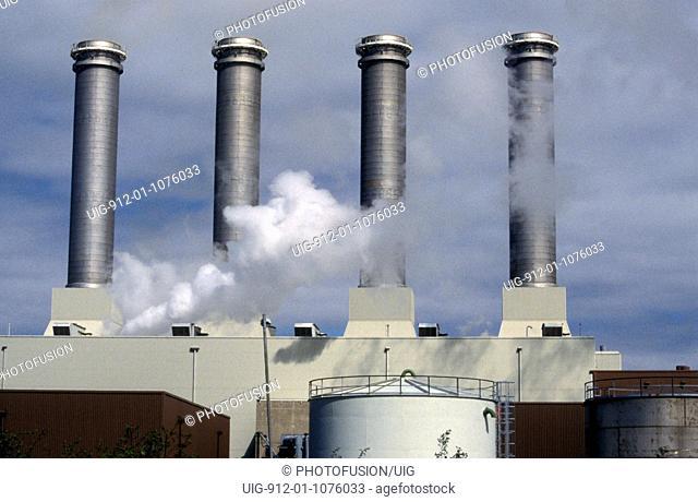 Stacks of gas fired power station near Killingholme, UK