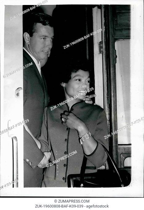 Aug. 08, 1960 - Eartha Kitt Arrives. Exotic American Singing star, Eartha Kitt, arrived at Paddington today in the S.S. Liberte boat train, from New York