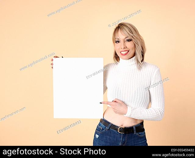 Young woman with adorable and positive fitness showing an advertisement