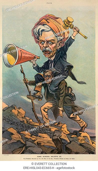 SOME BURDEN, BELIEVE US, by Udo Keppler, published in PUCK, May 7, 1913. Print cartoon of Woodrow Wilson, climbing a mountain while carrying an oversize...