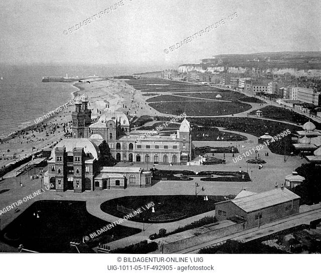 One of the first autotypes of the beach and casino in dieppe, france, historical photograph, 1884