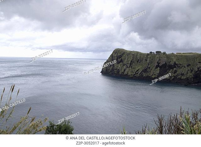 Winter seascape Capelas coast North of Sao Miguel island, Azores, Portugal