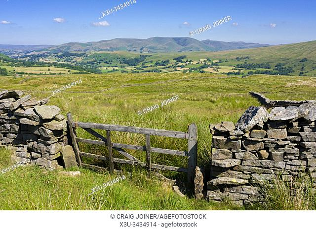 The view over Dentdale from Occupation Road in the Yorkshire Dales National Park with Howgill Fells beyond, Cumbria, England