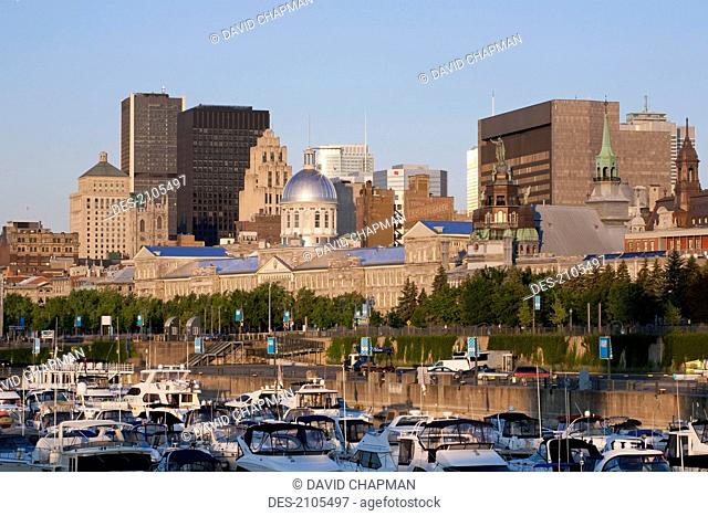 Montreal skyline in early morning, montreal quebec canada