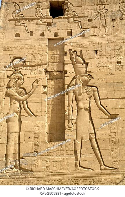 Relief Depecting the Goddess Hathor (left) and the God Horus (right), Second Pylon, Temple of Isis, Island of Philae, Aswan, Egypt