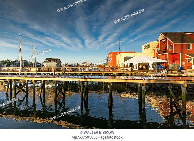 USA, New England, Cape Ann, Massachusetts, Gloucester, Gloucester Schooner Festival, Maritime Center Pier, dawn