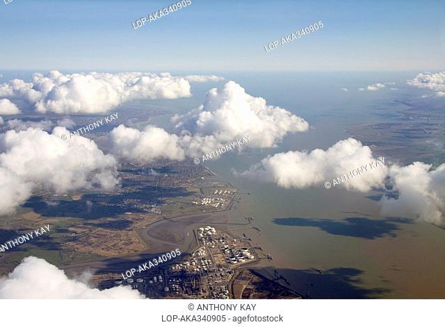 England, Essex, Thames Estuary, The Thames Estuary and Essex / Kent coastline viewed from high altitude
