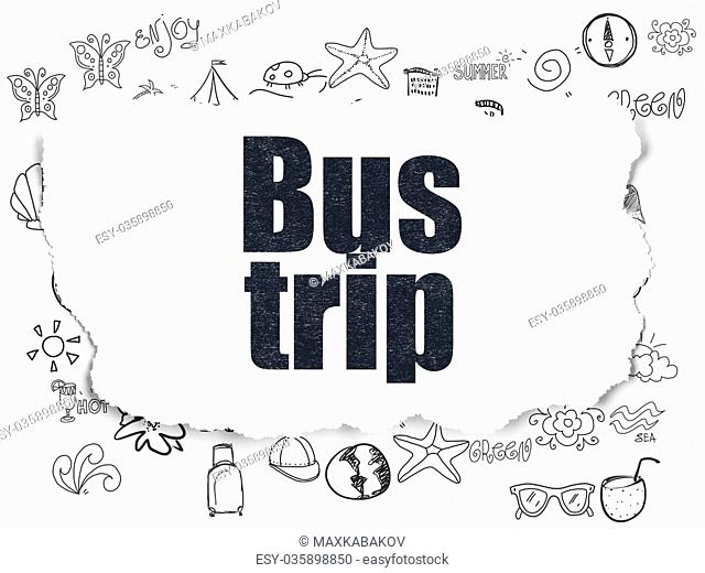 Tourism concept: Bus Trip on Torn Paper background
