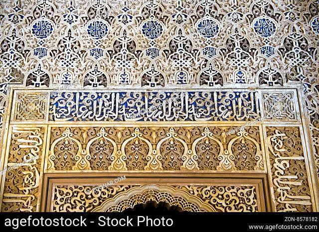 Maurische Arabesken oder Muqarnas, Nasridenpaläste, Palacios Nazaríes, Alhambra, Granada, Spanien / Mocárabe architecture with Moorish arabesque decoration